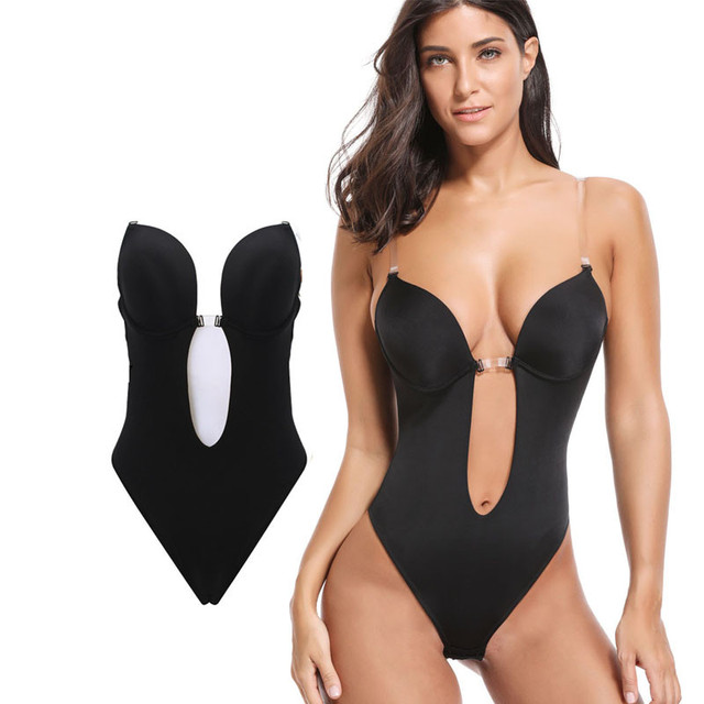 NINGMI Women U Plunge Bodysuit Shaper Molded Cup Push Up Bra G-string  Backless Sexy Party Wedding Invisible Body Shapewear Dress 299685b29