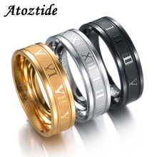 Atoztide 4-8mm Stainless Steel Roman Numbers For Women Men Cubic Zirconia Hollow Wedding Band Round Black Finger Ring Jewelry(China)