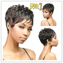 Medusa hair products: Short pixie cut style Afro wig for women black Synthetic african american wig with bangs