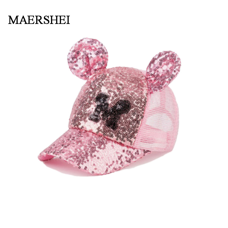 MAERSHEI Summer Child Sequin Mesh Cap Girls Sunscreen Baseball Cap Boys Casual Cute Cap Snapback Kids Hat