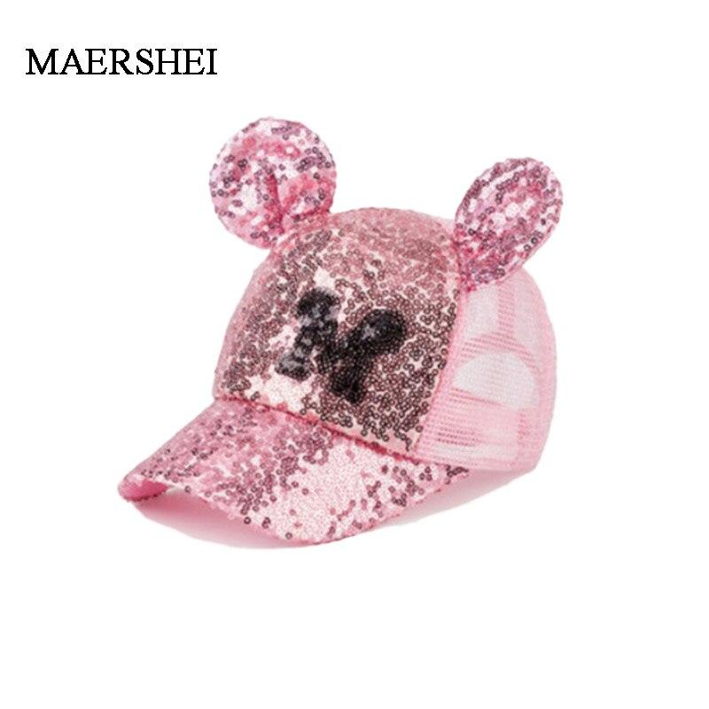 MAERSHEI Summer Child Sequin Mesh Cap Girls Sunscreen Baseball cap Boys Casual Cute Cap Snapback Kids Hat