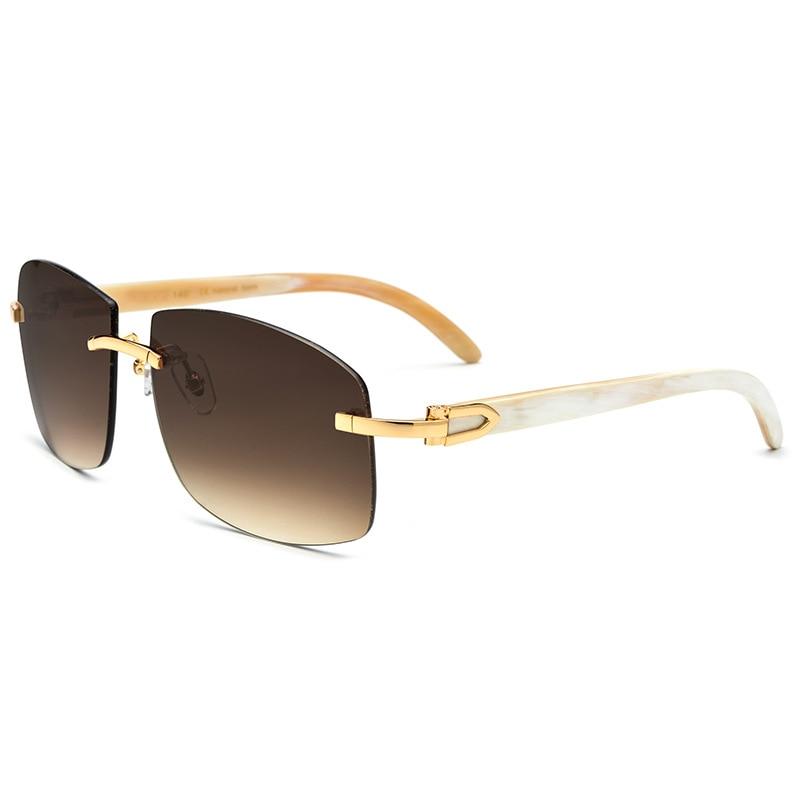 2019 Vintage Wood Sunglasses Men Shades Oversize Black White Buffalo Horn Glasses Rimless Eyewear Retro Style