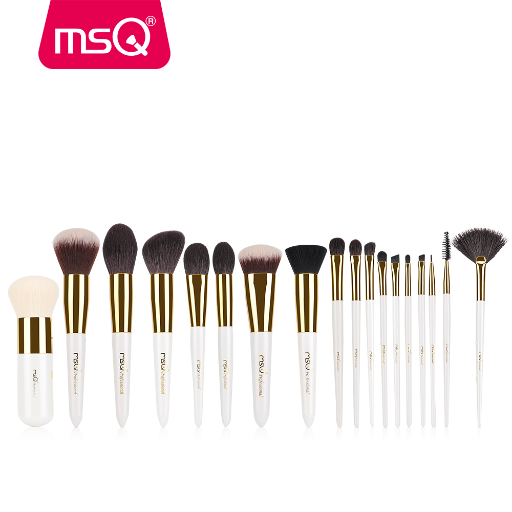 MSQ 18pcs Professional Makeup Brush Set High Quality Natural Hair Foundation Powder Blush Eyelash Eyeshadow Make Up Brush Kits цена