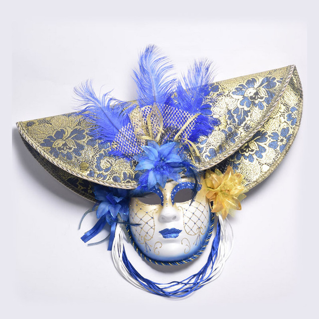 Elegant Red/Blue/Pink Feather Hat Full Face Venetian Mask