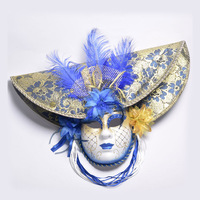 Elegant Red/Blue/Pink Feather Hat Full Face Venetian Mask Halloween Masquerade Party Masks Italy Lady Mask Party Favor DEC204
