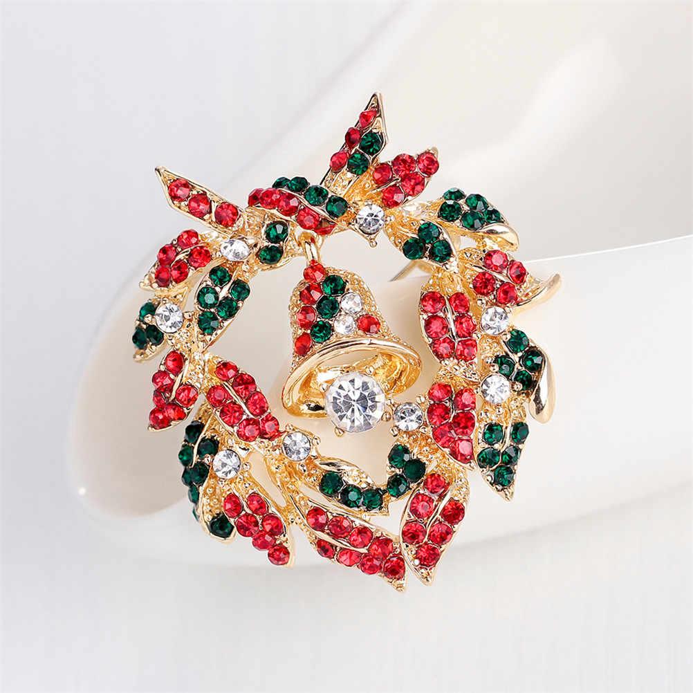 JETTINGBUY Hadiah Natal 1 Pcs Baru Gadis Wanita Bahagia Tahun Baru Bersinar Manis Karangan Bunga Lonceng Natal Hoop Bunga Berlian Imitasi Bros
