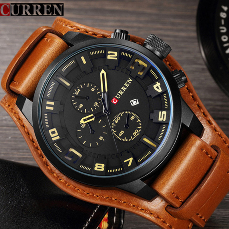 Curren Mens Watches Top Brand Luxury Brown Leather Strap Quartz Watch Men Military Sport Dropshipping Clock Relogio Masculino
