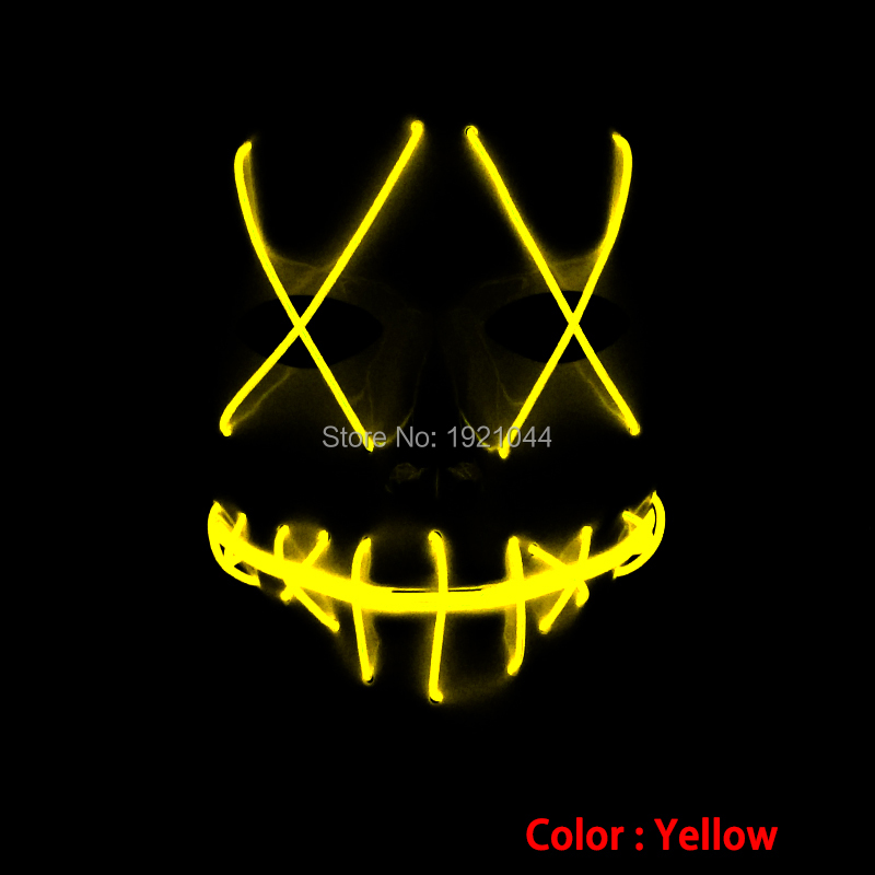 Festival Mask EL Wire Glowing Mask with DC-3V Sound activated Drive Color Yellow Blinking Mask for Party Supplies