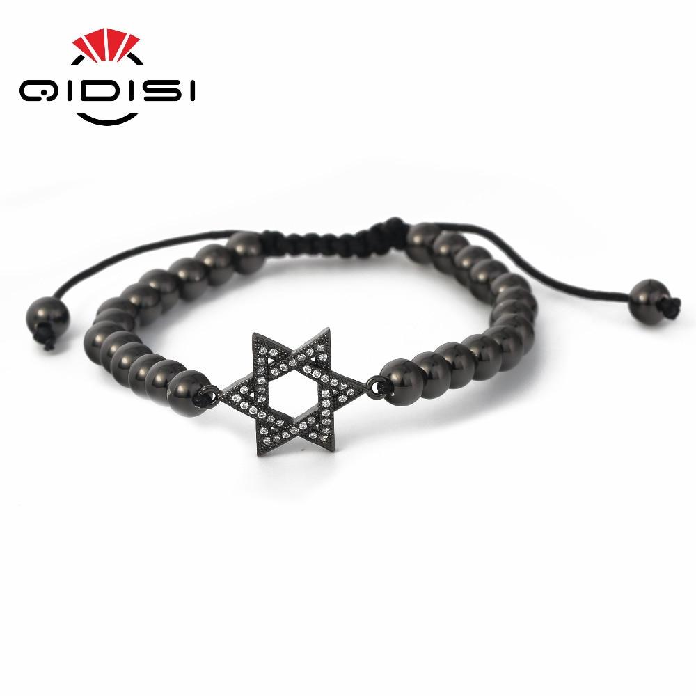 Charm Men Woman Black Stainless Steel Beads 6mm Bead Bracelets. Cubic Zirconia Bracelet CZ Bracelet. Length Adjustable