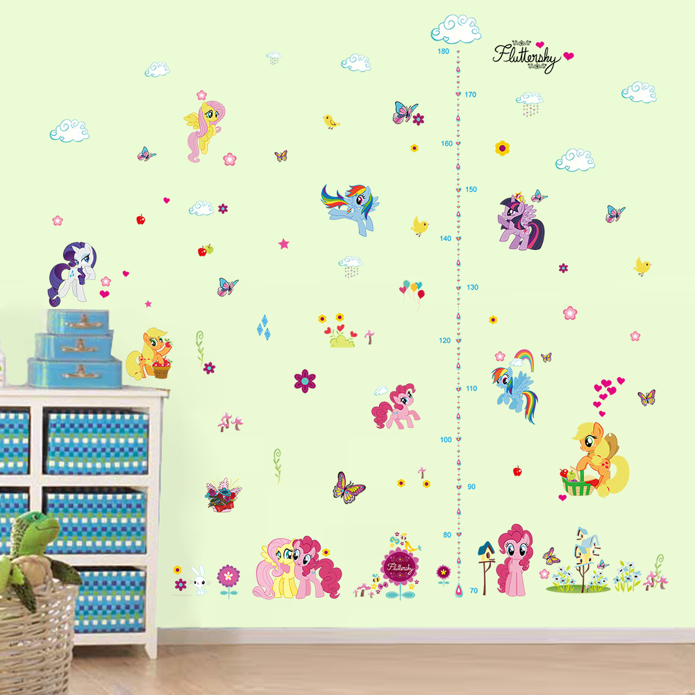 Diy Cartoon Horse Butterfly Height Measure Growth Chart Home Decal