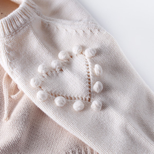 Image 4 - Baby Bodysuits hand knitted wool sweater power of love long sleeved coveralls package fart Bodysuits climbing clothes