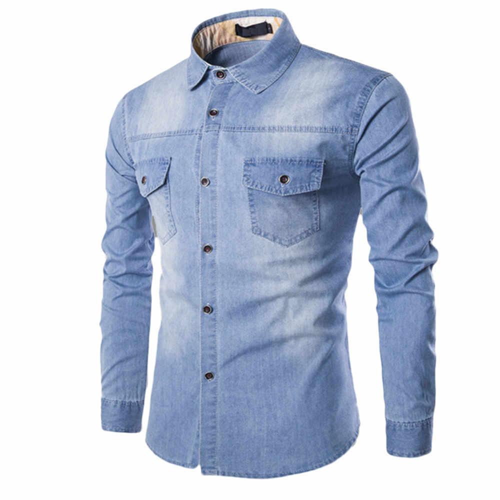 2019 весна осень мужские рубашки Новая повседневная Модная приталенная джинсовая хлопковая рубашка с длинными рукавами Однотонная рубашка Homme Blosue Blue