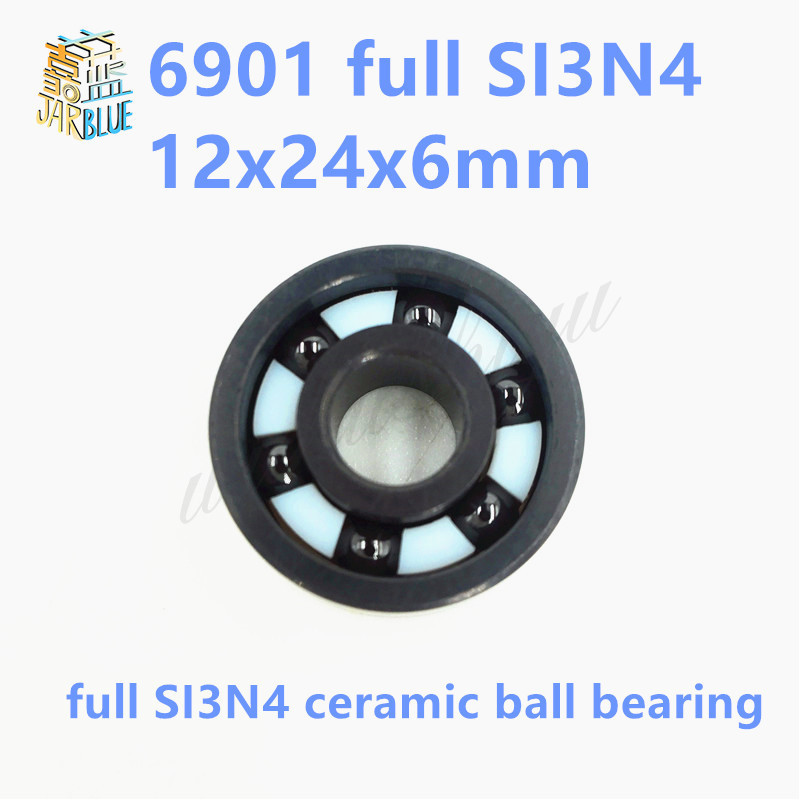 Free shipping 6901 full SI3N4 ceramic deep groove ball bearing 12x24x6mm full complement 61901 best price 10 pcs 6901 2rs deep groove ball bearing bearing steel 12x24x6 mm