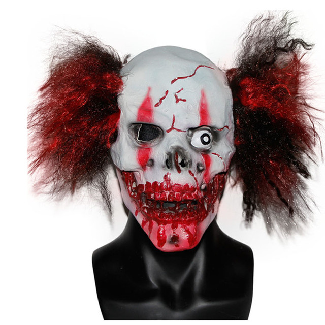 xmerry toy crazy scary clown bloody skull mask with hair manic zombie mask halloween
