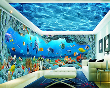 beibehang papel de parede High quality waterproof 3d wallpaper three - dimensional underwater world background wall theme space
