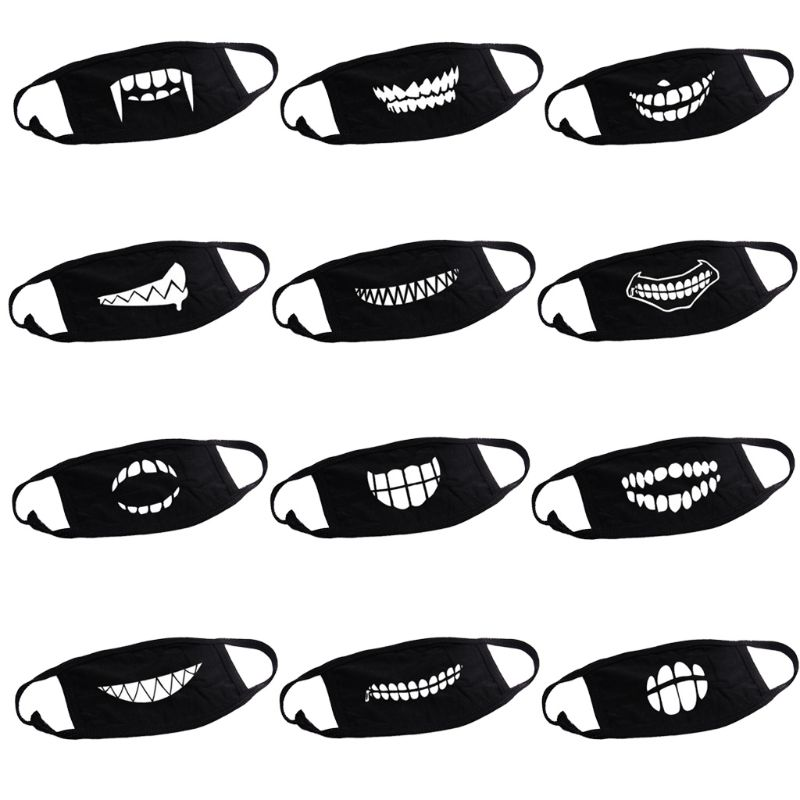 Unisex Outdoor Cartoon Teeth Printed Face Mouth Mask Washable Cotton Breathable