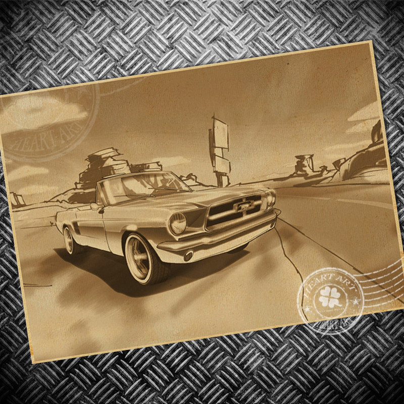 free ship route 66 car classic retro kraft paper posters wall stickers movie poster living room decor paint 42x30 cm