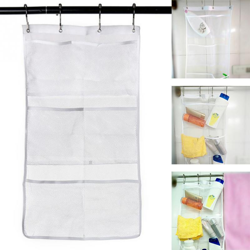 For Bathroom Shower Product Mesh Polyester Organizer Wall Hanging 6 Pockets Hanger Storage Bathroom Accessory