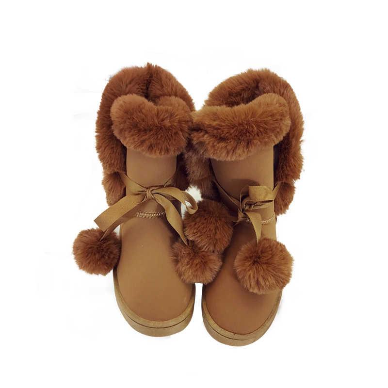 HUANQIU Kadın Kar Botları Büyük Boy 35-41 Kışlık Bot Ayakkabı Süper Sıcak Peluş Çizmeler pembe Renkler 2017 Moda kadın Ayakkabı PP45
