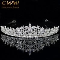 CWWZircons Elegant Marquise Cut Cubic Zirconia Flower Bridal Wedding Queen Crown Tiara Luxury Hair Jewelry For