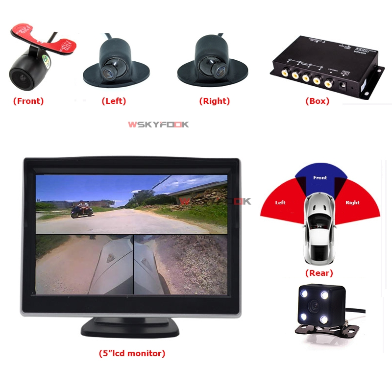 Car 4-Way Composite RCA Video Splitter Distribution Support car front/side/rear view cameras & 5 LCD Parking Monitor kit personal sound amplifier high quality competitive price hearing aid deaf aid behind ear hearing aids s 188 free dropshipping