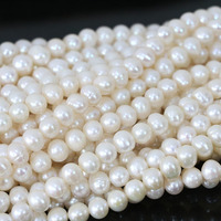 New Women Natural White Cultured Freshwater Pearl Beads Elegant Fashion Fashion Hot Sale Jewelry Making 15inch