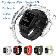 Sport Waterproof Strap& anti-fall Watch Case For Apple 44mm PC Shell Silicone Band iwatch series 4 Breathable Suit