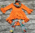 Детские зимние НАРЯДЫ для девочек 3 шт. наборы с шарф новорожденных девочек оранжевый топ с цветок брюки устанавливает девушки бутик одежды