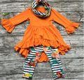 TRAJES de bebé de invierno niñas 3 unidades conjuntos con la bufanda del bebé niñas naranja top con flor pant establece girls boutique ropa