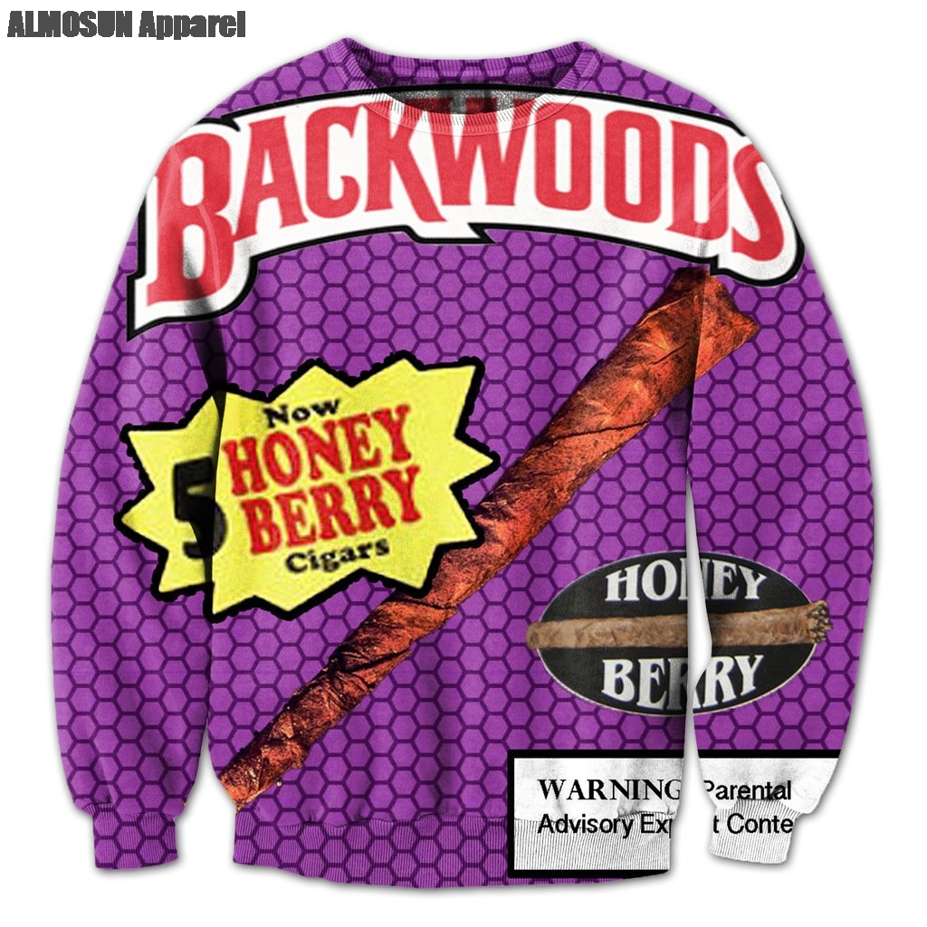 ALMOSUN Backwoods Honey Berry Blunts 3D All Over Print Tracksuits Sweatshirts Hipster Casual Drawstring Casual Pants Women Men