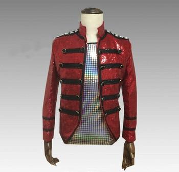 Sequins Suit Jacket New Fashion Male Singer Red Rhinestone Men's Dancer Suit Outerwear DJ DS Stage Wear Coat Costume Top