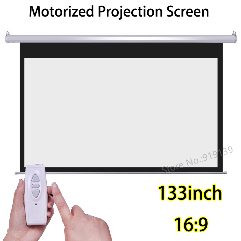133 inch 16:9 Motorized Screens Best Price For HD Projector Electric Projection Screen With Wireless Remote Control full hd electric projection screen 150 inch with remote control 16 9 motorized wall mount projector screens for 3d cinema office