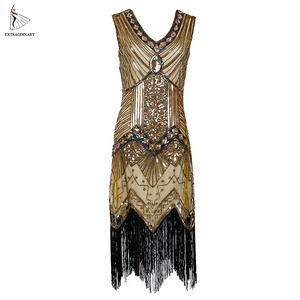 Image 4 - Vrouwen 1920 S Vintage Great Gatsby Jurk Pailletten Jurk V hals Kwasten Bodycon Kralen Party Dress Flapper Jurken Art Deco Dubbele