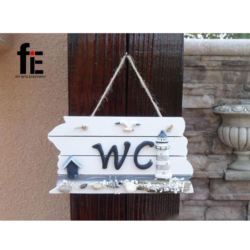 Wooden Craft Creative Restroom WC Door Decoration Mediterranean Style <font><b>Home</b></font> <font><b>Decor</b></font> Anchor <font><b>Nautical</b></font> Wood