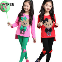 V TREE Baby Girls Clothing Sets Candy Color Teenage Suit Sets For Girls Tracksuit Spring Autumn