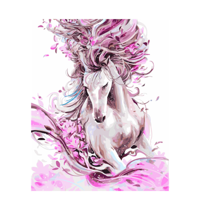 DRAWJOY Framed Picture Horse DIY Painting By Numbers Colorful Picture Home Decor For Living Room Hand Unique Gifts GX22388