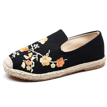 summer thick  shoes womens flat heel round head plum female Cotton Hemp Womens shredded flower craft