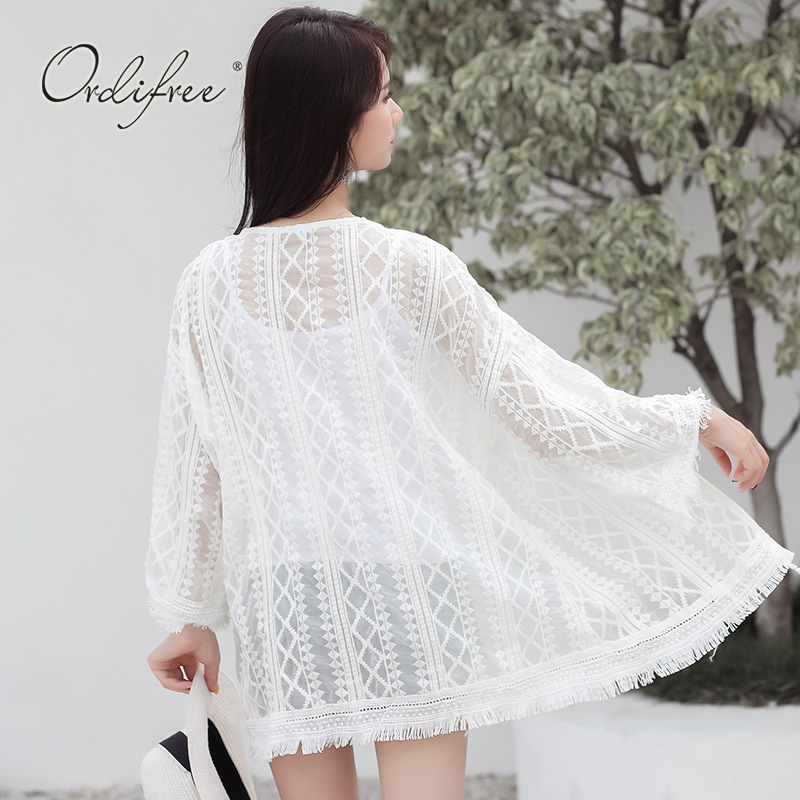 Ordifree 2018 Summer Lace Long Cardigan Long Sleeve Sexy Tassel Thin Beach Cardigan White Lace Blouse Shirt