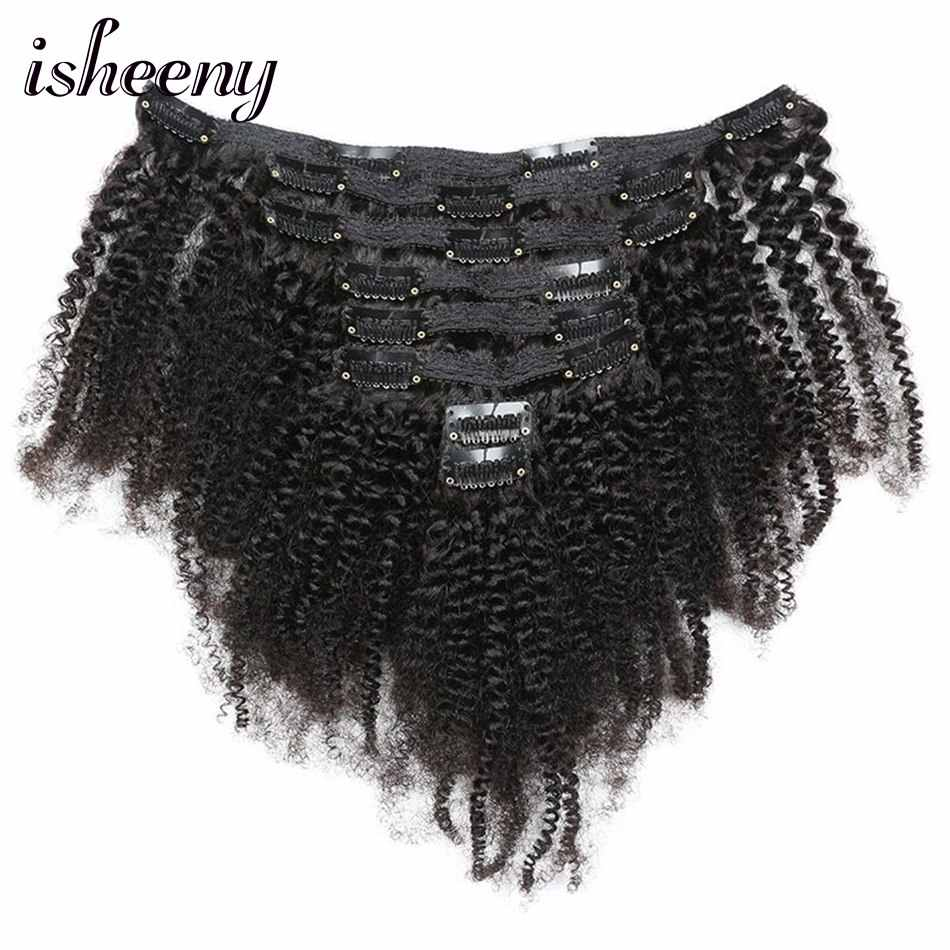 Isheeny Afro Kinky Curly Clip In Hair Extensions 8pcs/set Brazilian Remy Human  Clip Hair 120g Clip Full Head Natural Color