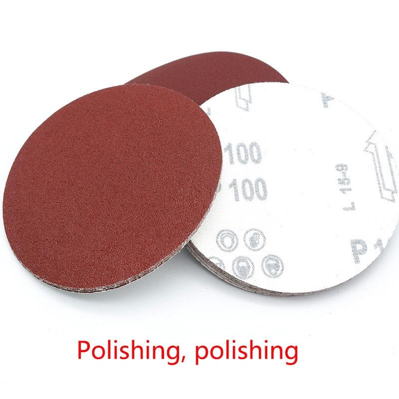 10pcs 125mm Sand Paper Red Circular Flocking Polishing Disc With Grits 80-1000 Grinding Metal Detector Carpenter