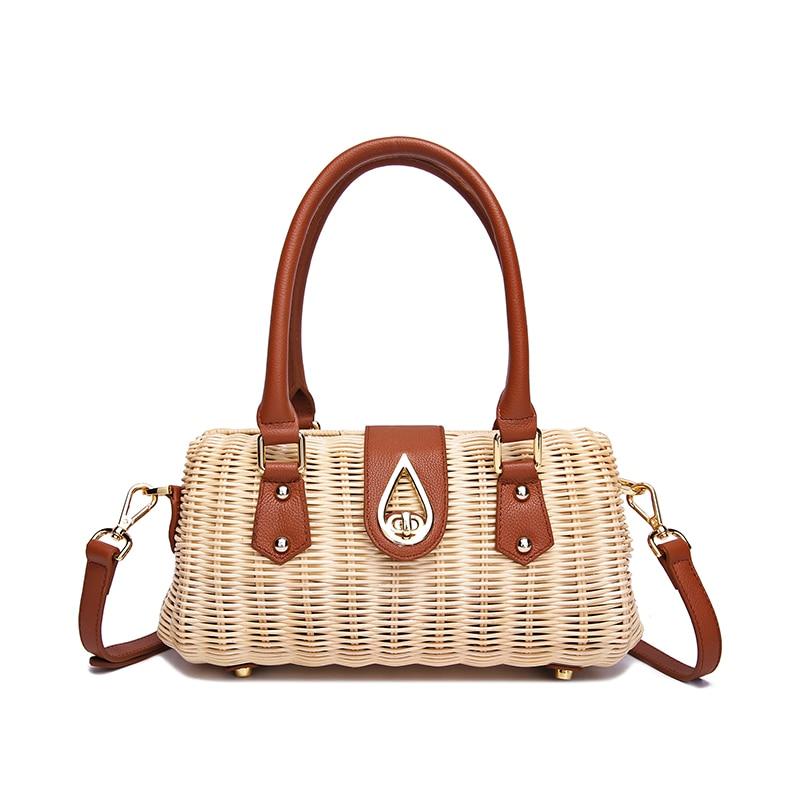 2019 new ladies handbags handmade handmade high-grade rattan weaving leather Genuine leather matching high-quality rattan bag