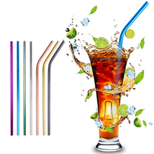 Reusable Metal 4/8pcs Stainless Steel Straw Drinking Straw With Cleaner Brush For Home Party Barware Bar Accessories 1 2 4 6 8pcs lot reusable stainless steel drinking straw metal straight curved with 1 2 3 cleaner brush kit home bar drinkware