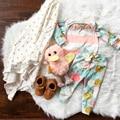 Детские девушки костюмы С Длинным рукавом Футболка + Цветочные Леггинсы 2 шт. костюм Рождество детская одежда девочка одежды наборы