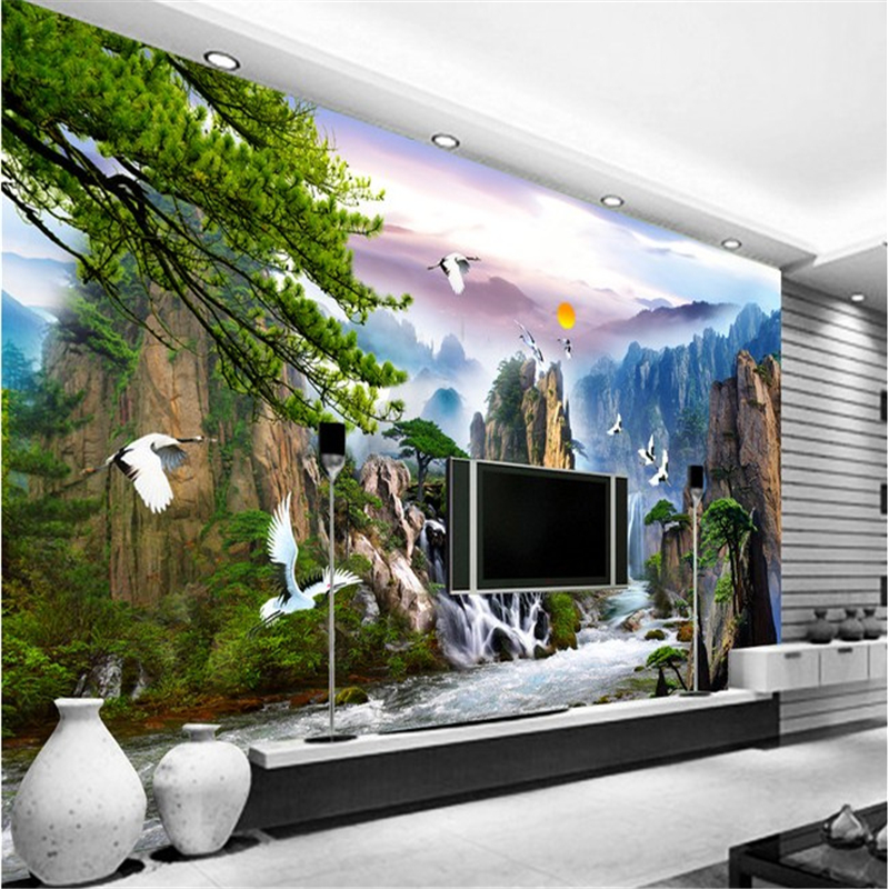 Chinese large mural fresco living room tv backdrop for Chinese wallpaper mural