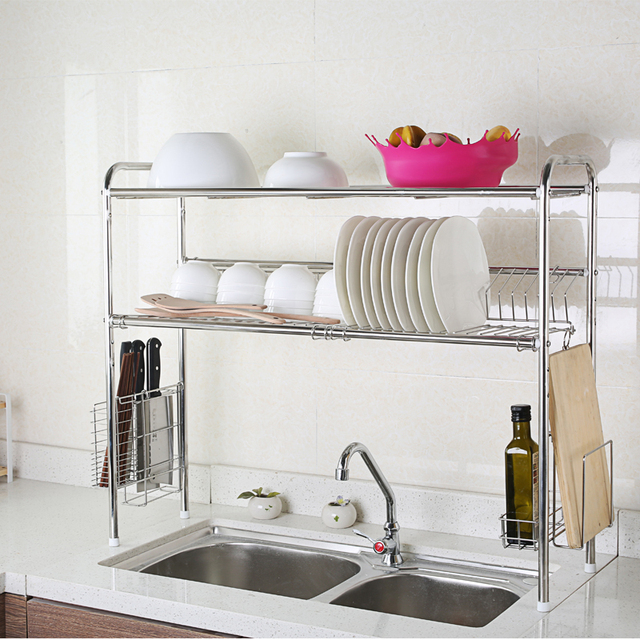 1208s Sink 304 Stainless Steel Dish Rack Shelving Drain Drip Storage Turret