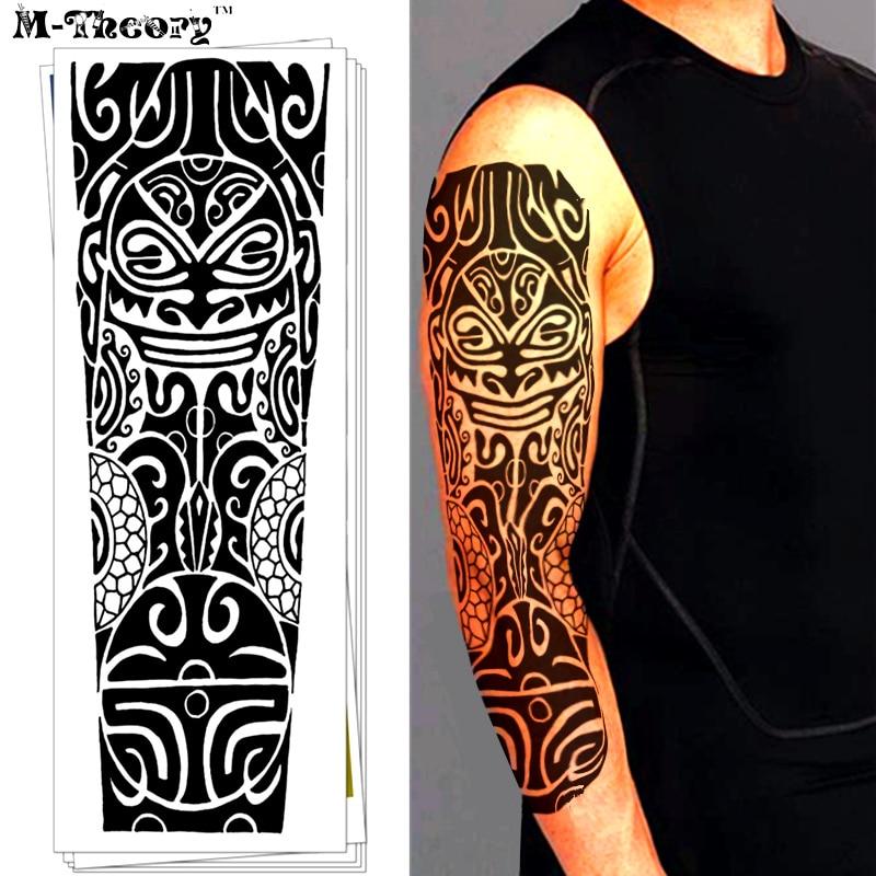 M Theory 3d Maori Ramię Rękaw Tymczasowa Magia Tatuaż Naklejki Wodoodporna Henna Flash Tatuaż Body Arts Strój Kąpielowy Tatoo Makeup Tools