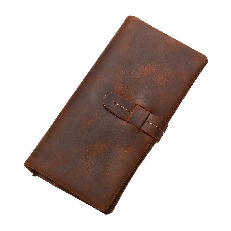 VEJIERY Genuine Crazy Horse Cowhide Leather Men Wallets Long Coin Purse Vintage Long Wallet Male Zipper Wallets Card Holder