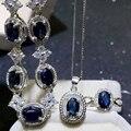 Luxuoso safira conjunto de jóias de casamento garantia de safira naturais de Chinese maior mina de safira 925 puro conjunto de jóias de prata