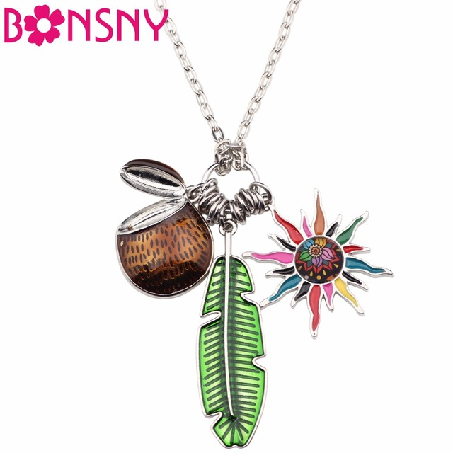 Bonsny Tropic Summer Collection Alloy Coconut Leaf Sun Flower Necklace Chain Enamel Jewelry Statement Pendant Women Girl Charm