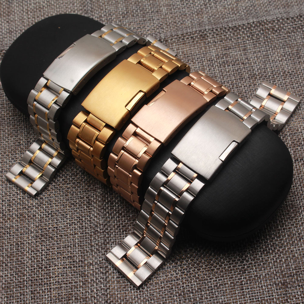 Watchband Stainless steel watches strap bracelet 18mm 20mm 22mm 24mm promotion replacement watches silver gold new accessories new 16mm 20mm silver gold metal stainless steel watchband bands strap bracelets for brands watches men high quality accessories